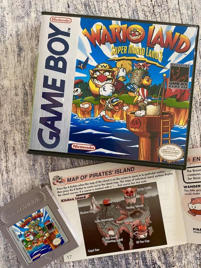Mario Land 3: Wario Land box, cart, and map from manual