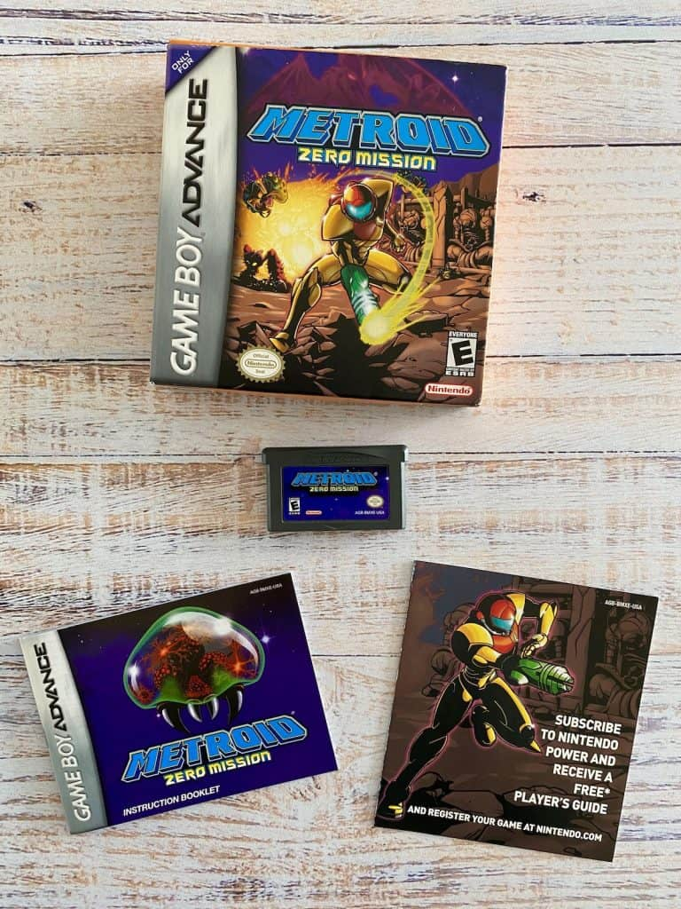 Metroid Zero Mission box, cart, manual, and insert
