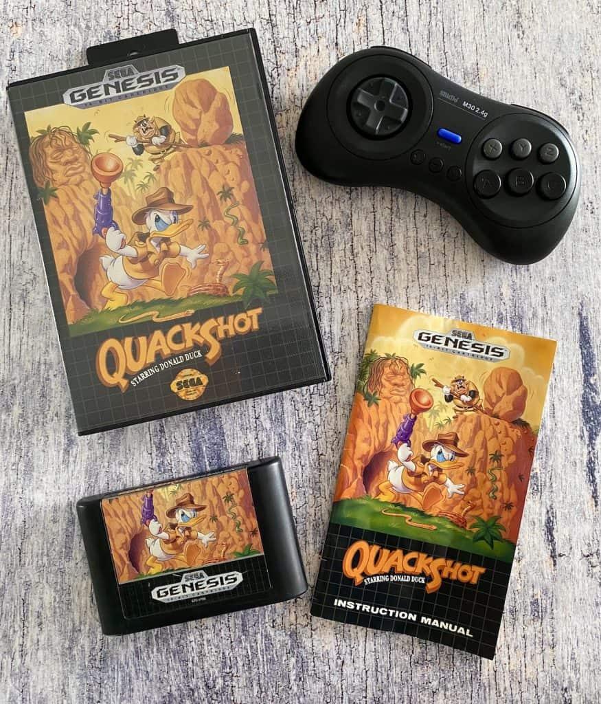 Quackshot Sega Genesis box, cart, manual, and 8bitdo Genesis controller