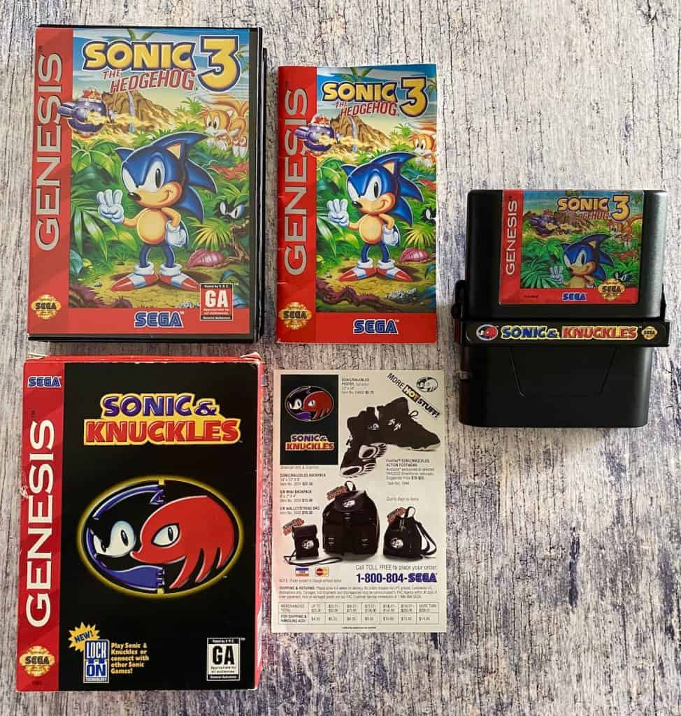 Sonic 3 & Knuckles boxes, manual/insert, and locked on carts