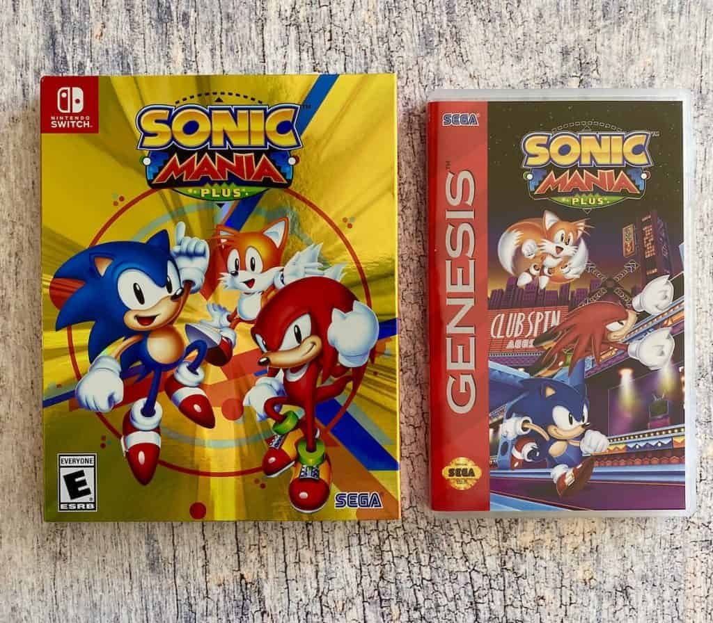 Sonic Mania Plus on Switch box and Genesis cover