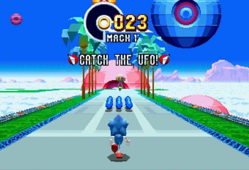 Screenshot of first Sonic Mania special stage
