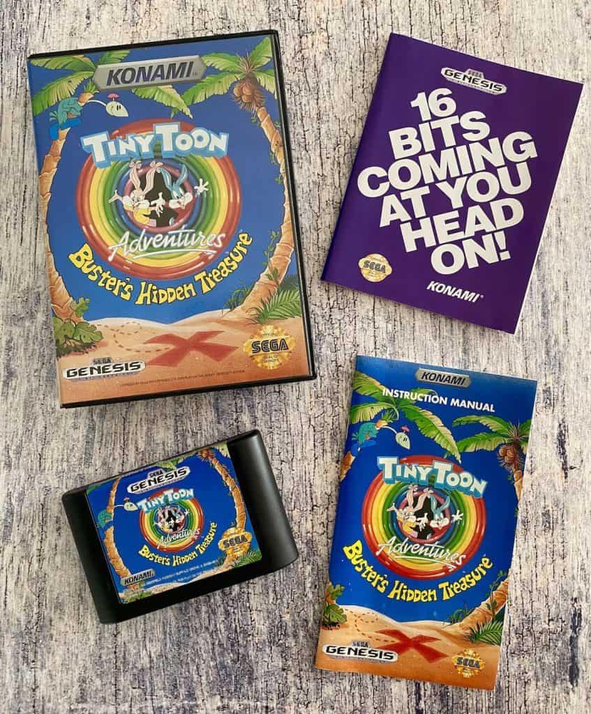 Tiny Toon Adventures Buster's Hidden Treasures for Sega Genesis box, cart, manual, and poster