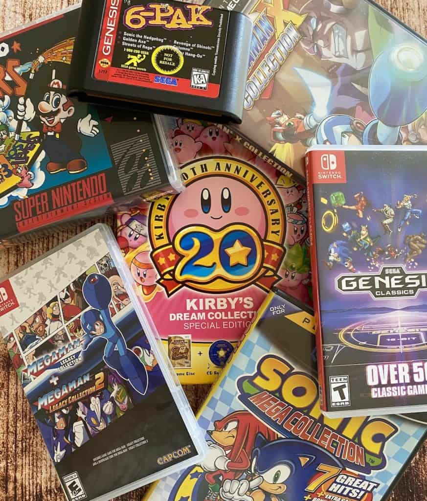 My favorite game compilations: Kirby's Dream Collection, Mega Man Legacy Collection, Sonic Mega Collection, Mario All-Stars, Genesis 6-pak, and Sega Classics Collection