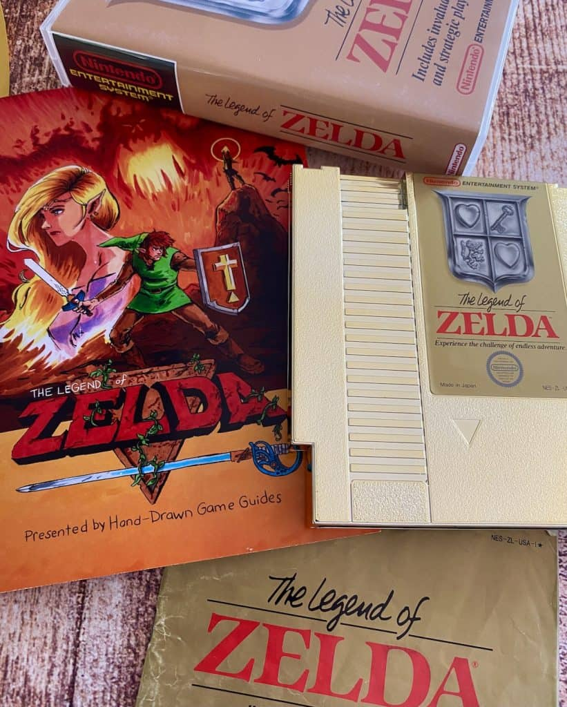 Legend of Zelda NES cart, manual, case, and Hand Drawn Game Guide