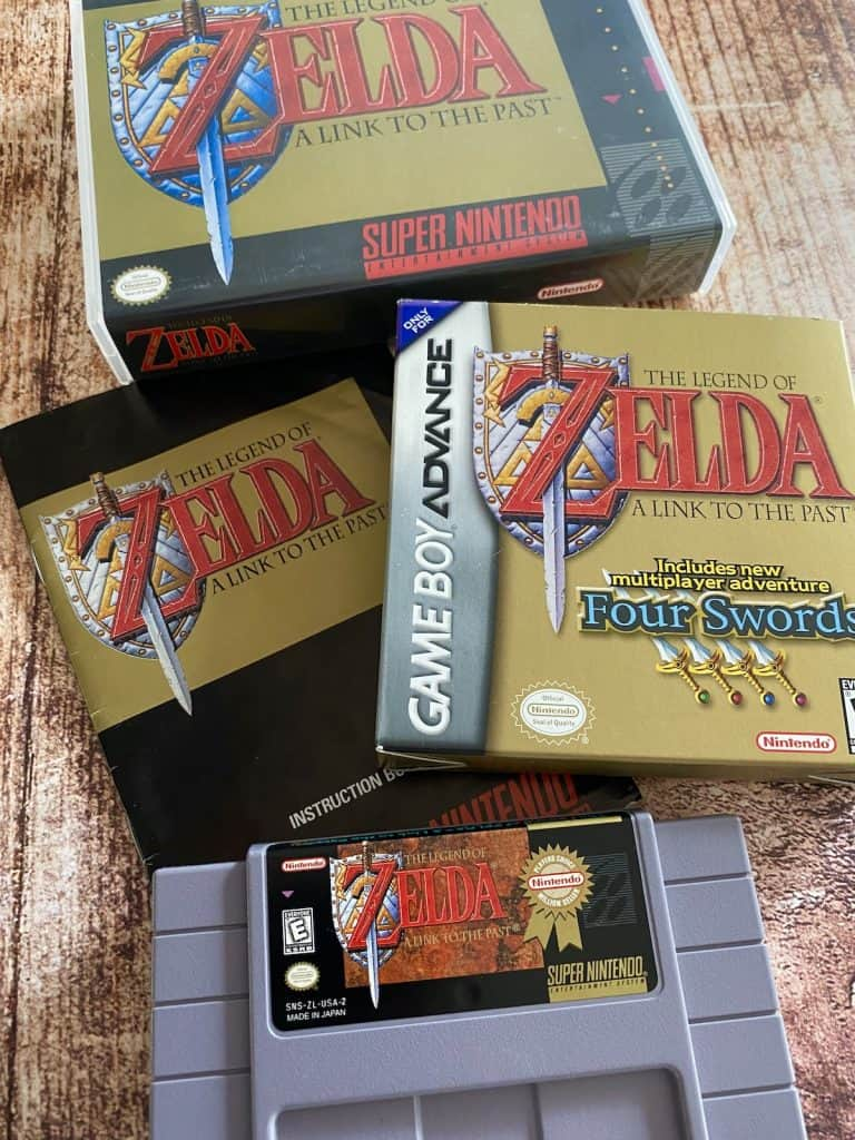 Zelda Link to the Past SNES cart, box, manual, and Game Boy Advance version