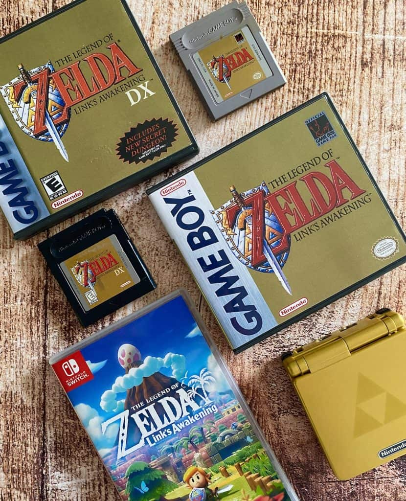 Zelda Link's Awakening for Game Boy cart and case, DX version cart and case, Switch edition case, and Zelda GBA SP