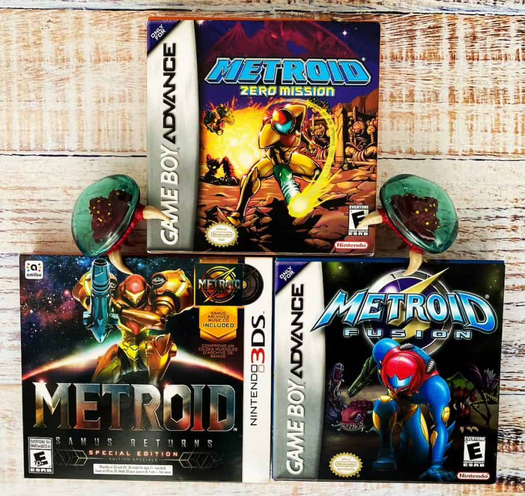 Metroid: Samus Returns, Zero Mission, and Fusion complete in box