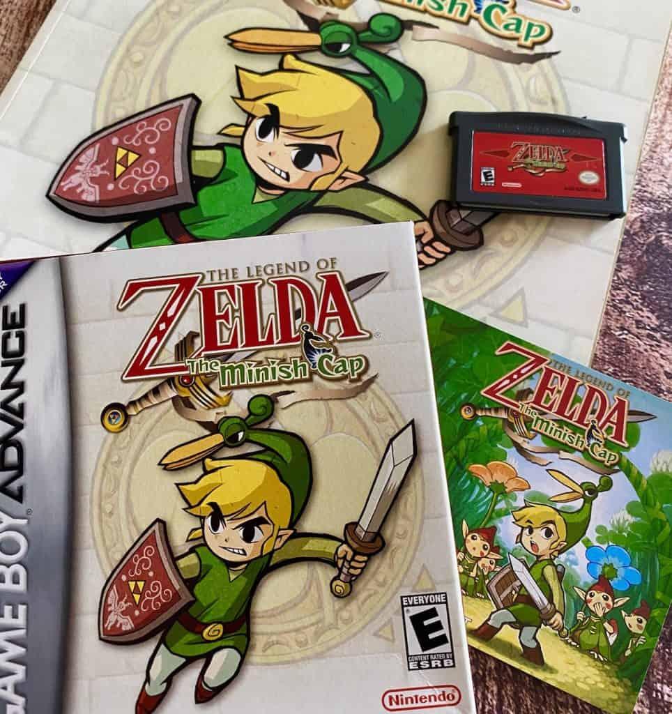 Zelda Minish Cap box, cart, manual, and Nintendo Power player's guide