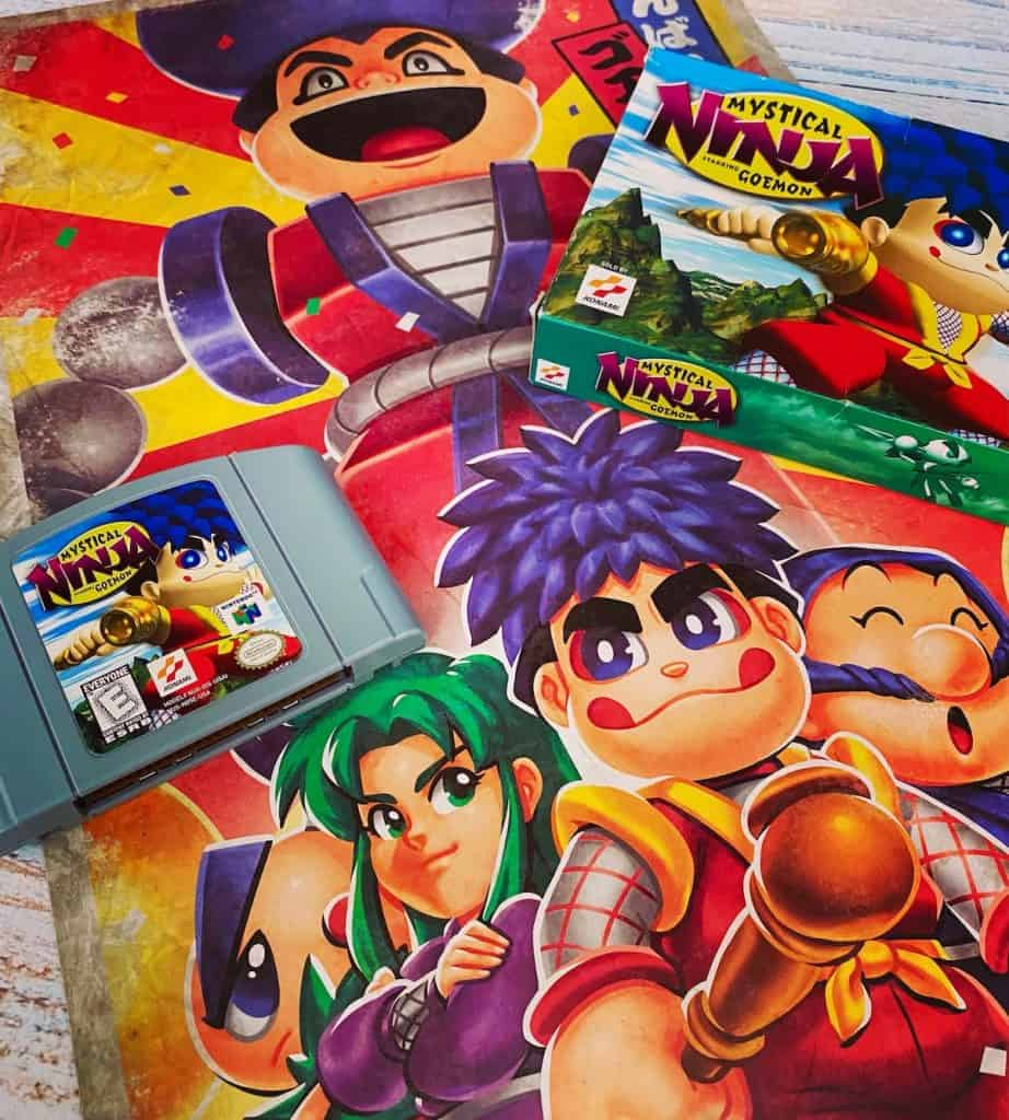 Mystical Ninja N64 box, cart, and Fangamer poster
