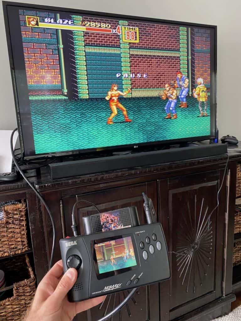 Playing Streets of Rage 2 on TV via Sega Genesis Nomad