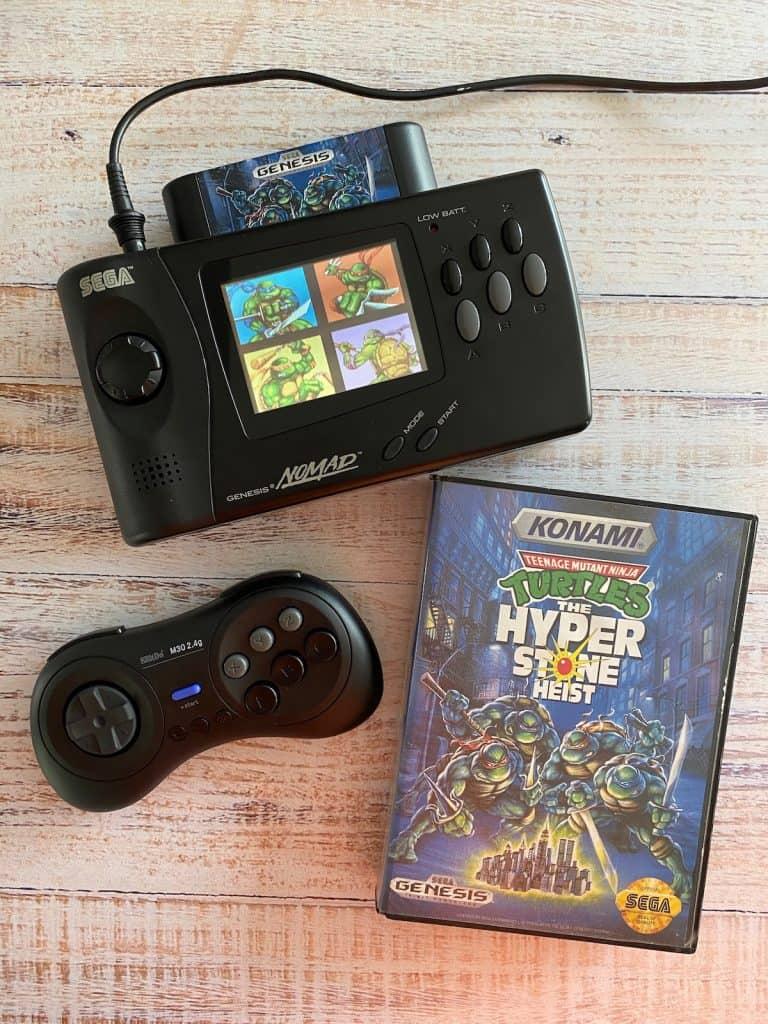 Sega Genesis Nomad playing Turtles Hyperstone Heist, with 8bitdo controller