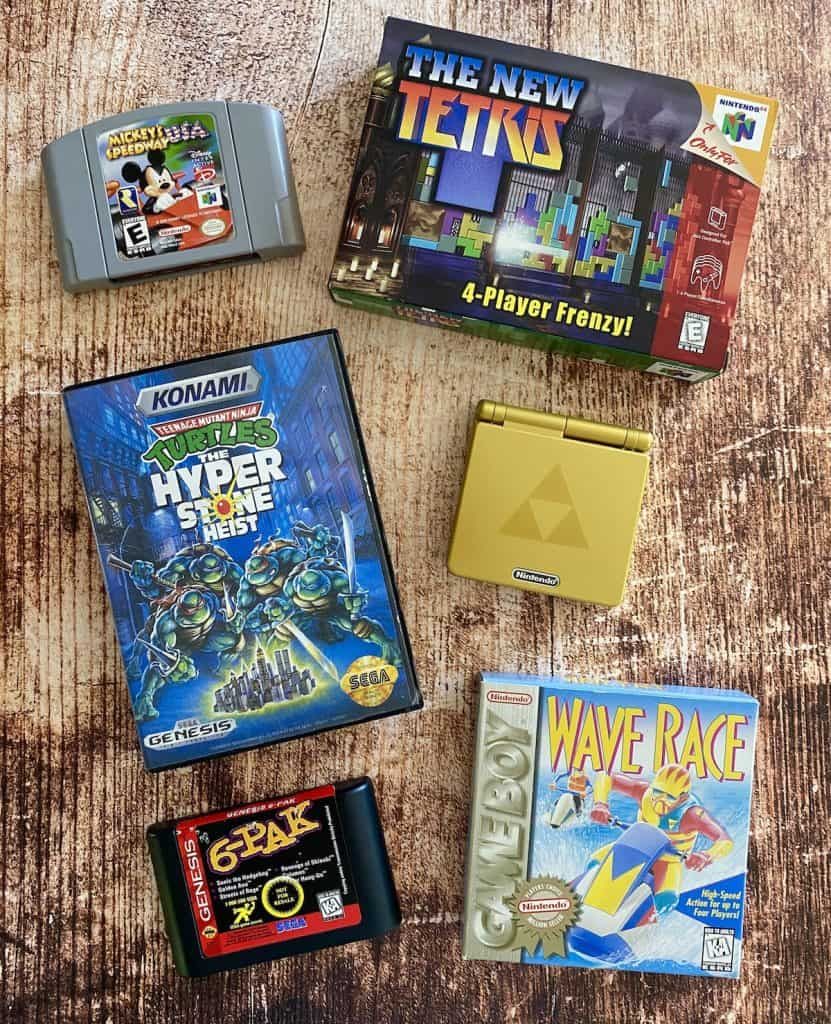 Retro Collecting pickups in 2021: Genesis 6-pak cart, Zelda GBA SP, New Tetris for N64 complete in box, Turtles Hyperstone Heist, and Wave Race for Game Boy