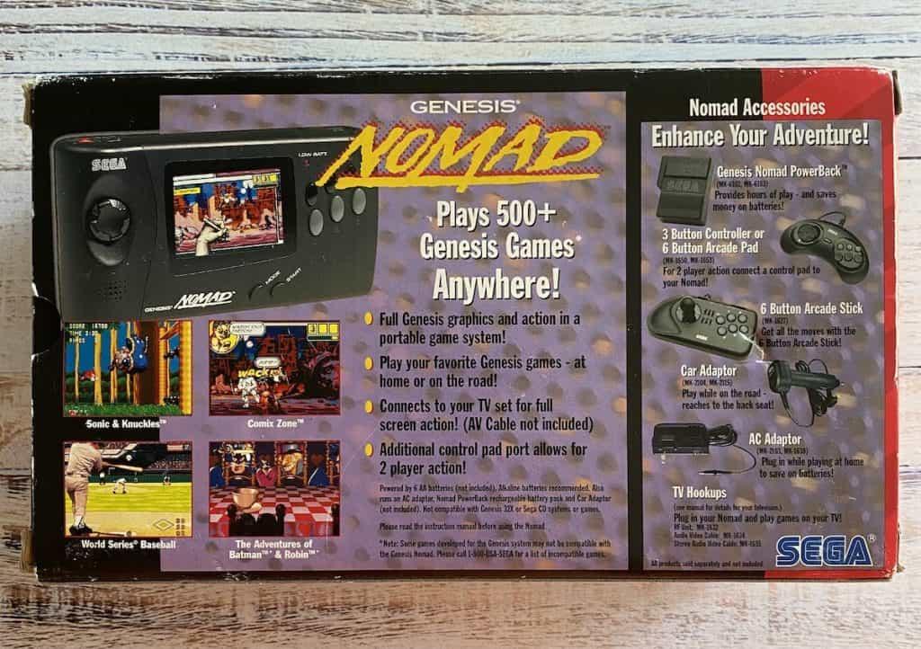 Sega Genesis Nomad back of box
