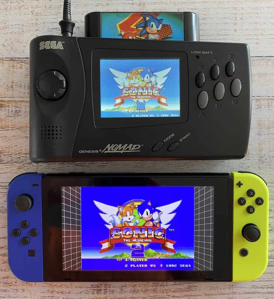 Sega Genesis Nomad and Nintendo Switch both playing Sonic 2