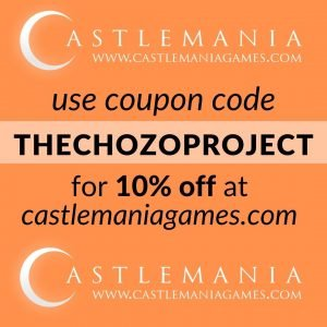 Text image for coupon code thechozoproject to use for 10% off at castlemania games.