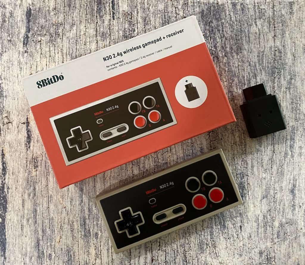 8bitdo 2.4g NES controller, box, and receiver