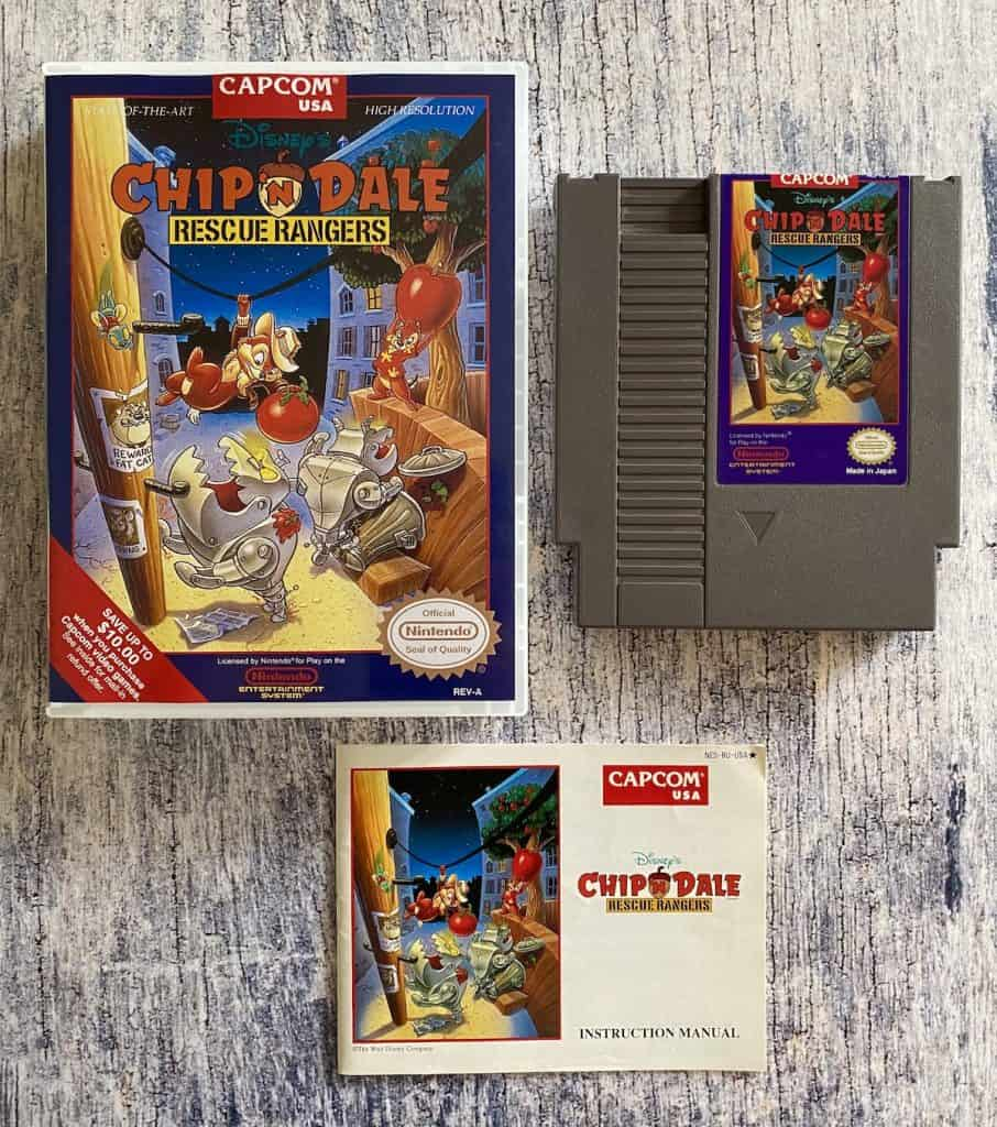 Chip'N Dale Rescue Rangers for NES box, cart, and manual