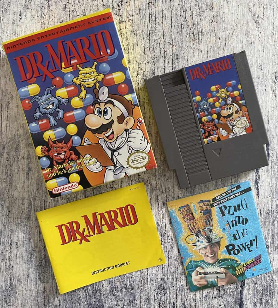 Dr. Mario for NES cart, box, manual, and Nintendo Power insert