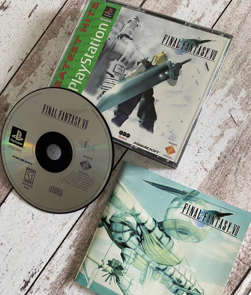 Final Fantasy VII PS1 Greatest Hits case, disc 1, and manual