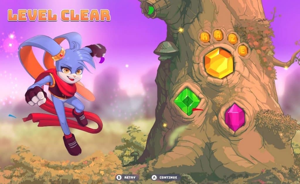 Kaze and the Wild Masks level clear screen