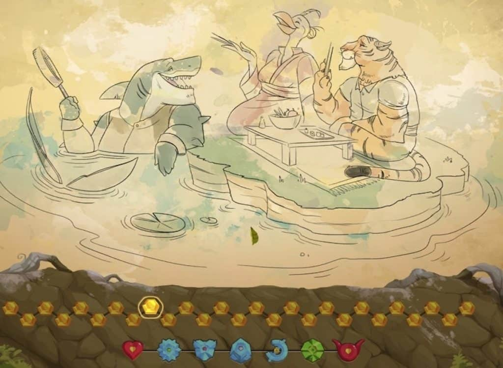 Kaze and the Wild Masks gallery screenshot of animal friends eating