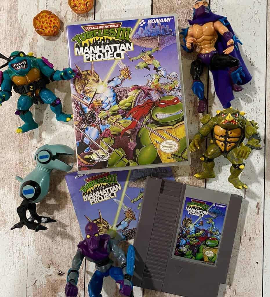 Turtles III Manahattan Project box, cart, manual with action figures for Slash, Shredder, Mouser, Tokka, and Foot Soldier