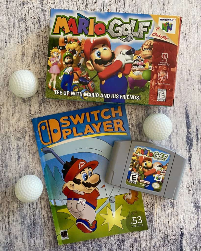 Mario Golf N64 box and cart, and Switch Player Issue 53 (Mario Golf)