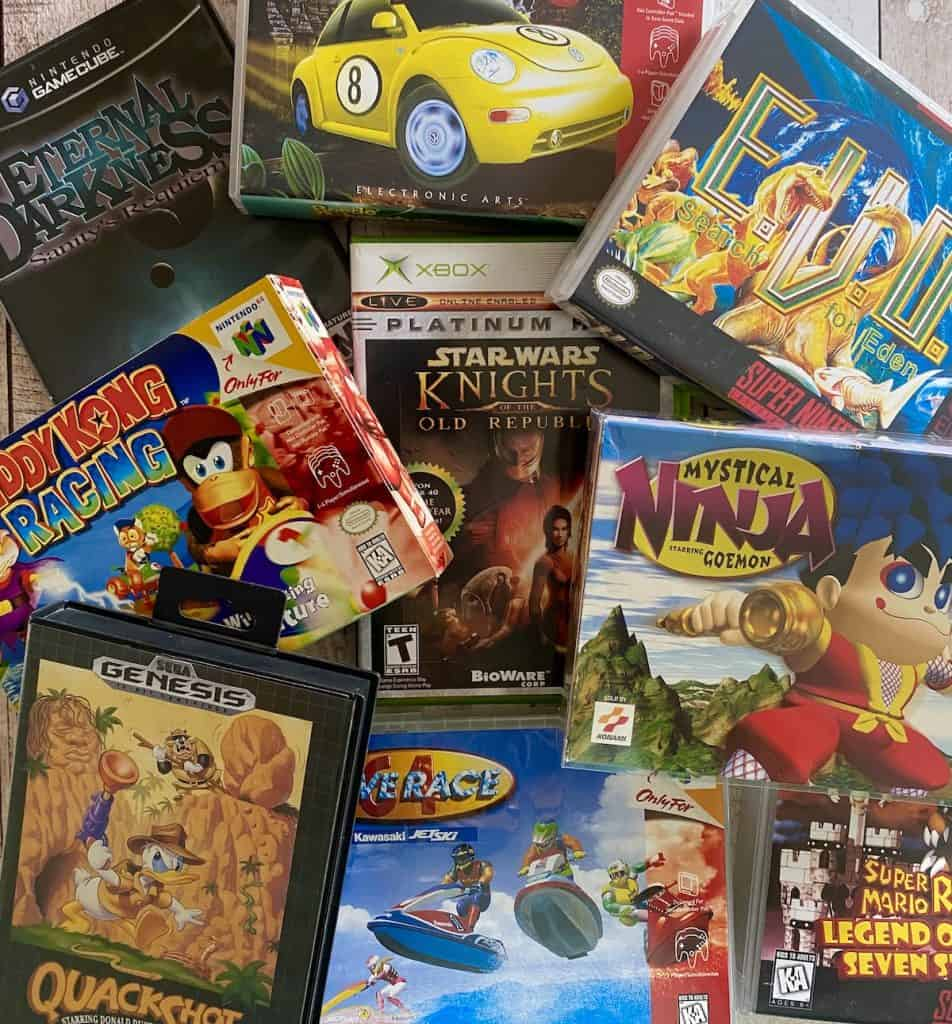 My personal retro games that need a sequel collage: Diddy Kong Racing, Knights of the Old Republic, Eternal Darkness, Beetle Adventure Racing, EVO Search for Eden, Quackshot, Wave Race 64, Super Mario RPG