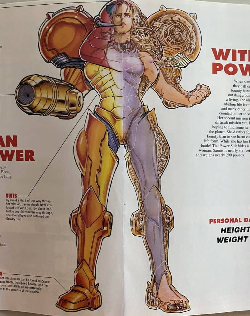 Samus Aran with half power suit on, half off from Super Metroid guide