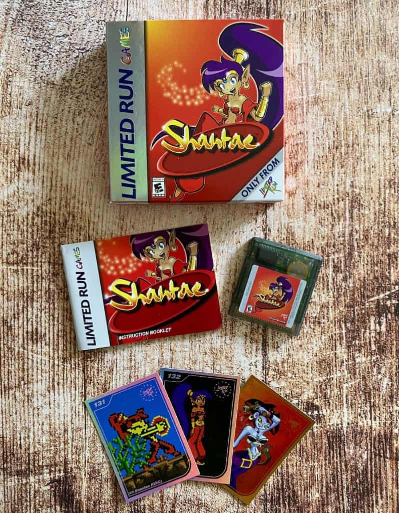 Shantae Game Boy Color Limited Run re-release box, manual, cart, and trading cards