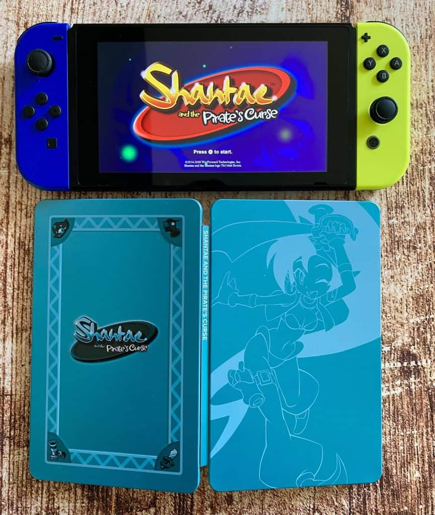 Shantae and the Pirate's Curse running on Switch with LR steelbook