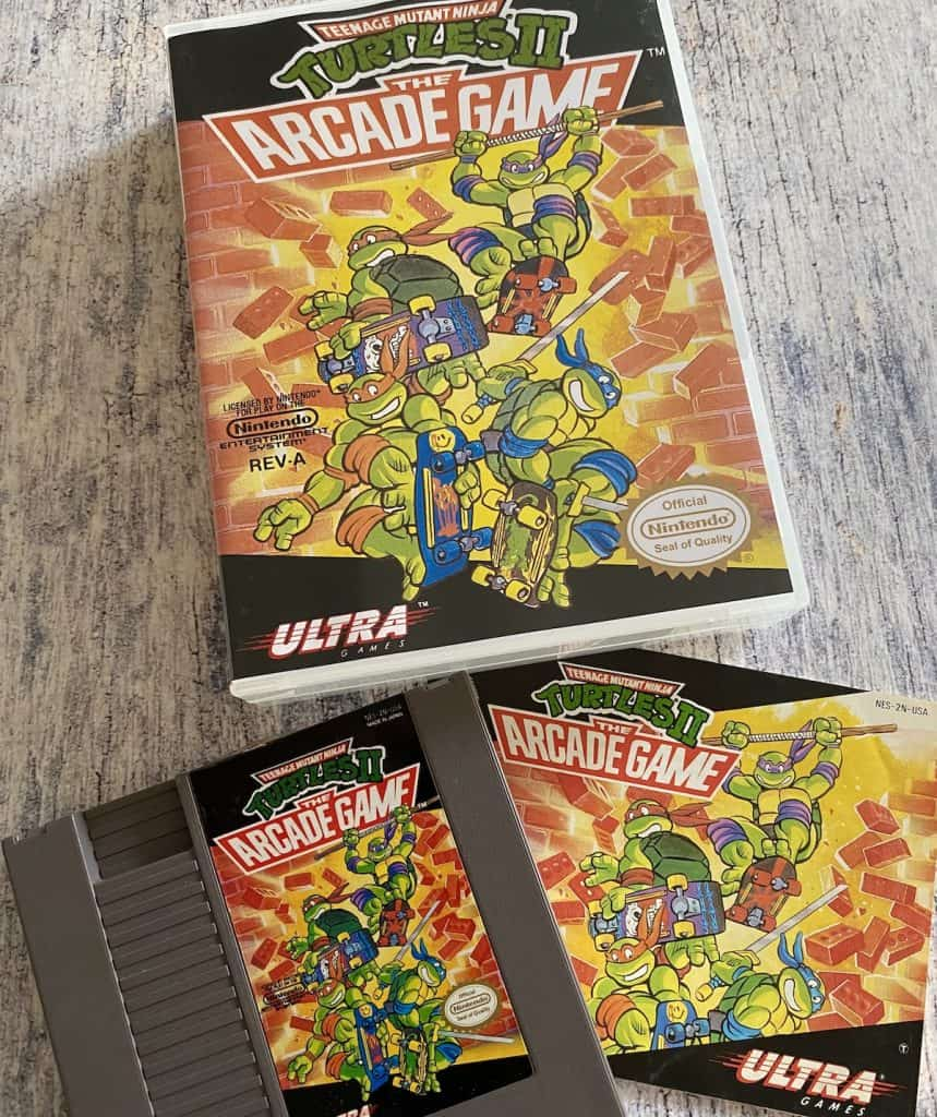 Turtles II: The Arcade Game for NES box, cart, and manual