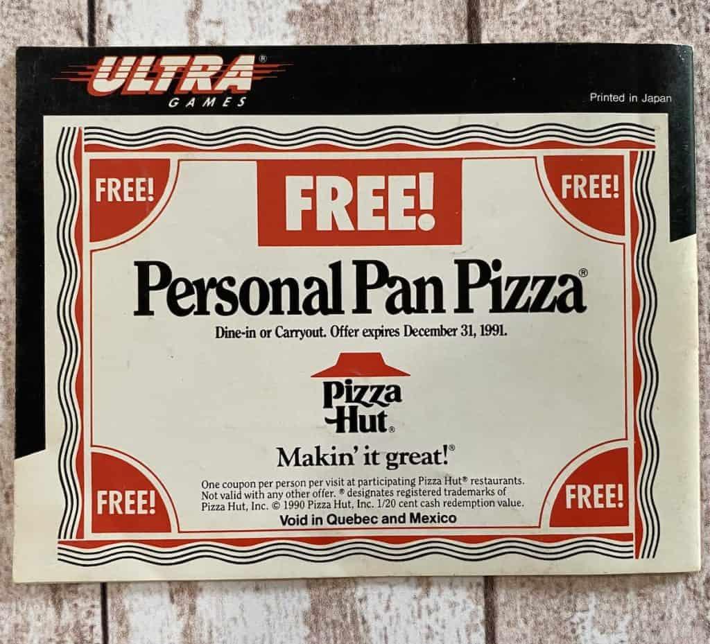 Turtles II NES manual Pizza Hut coupon