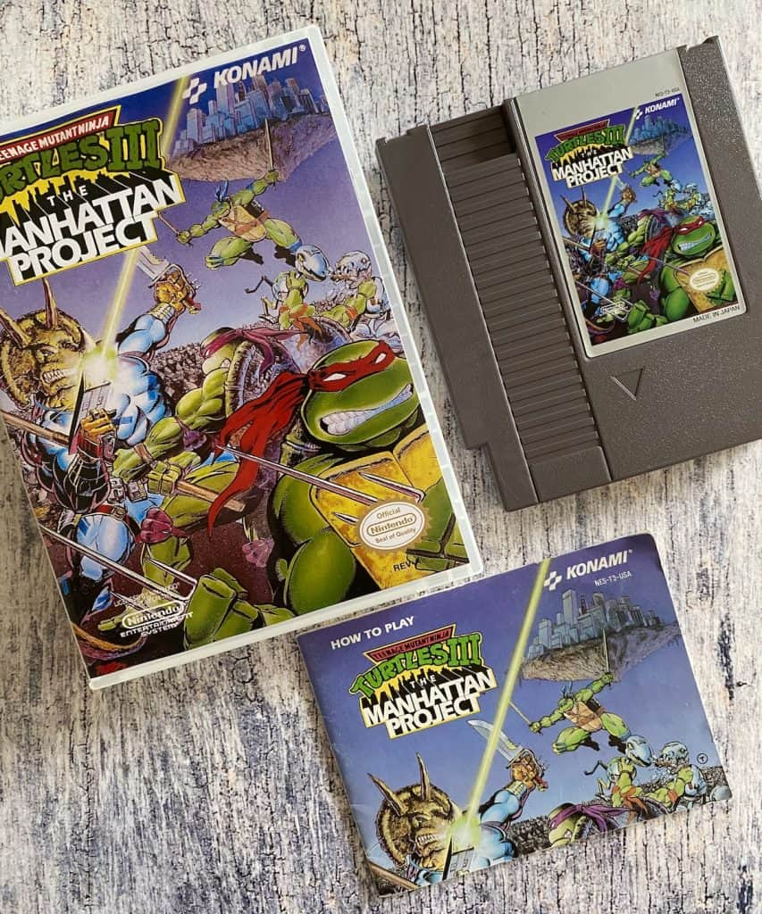 Turtles III: The Manhattan Project for the NES box, cart, and manual