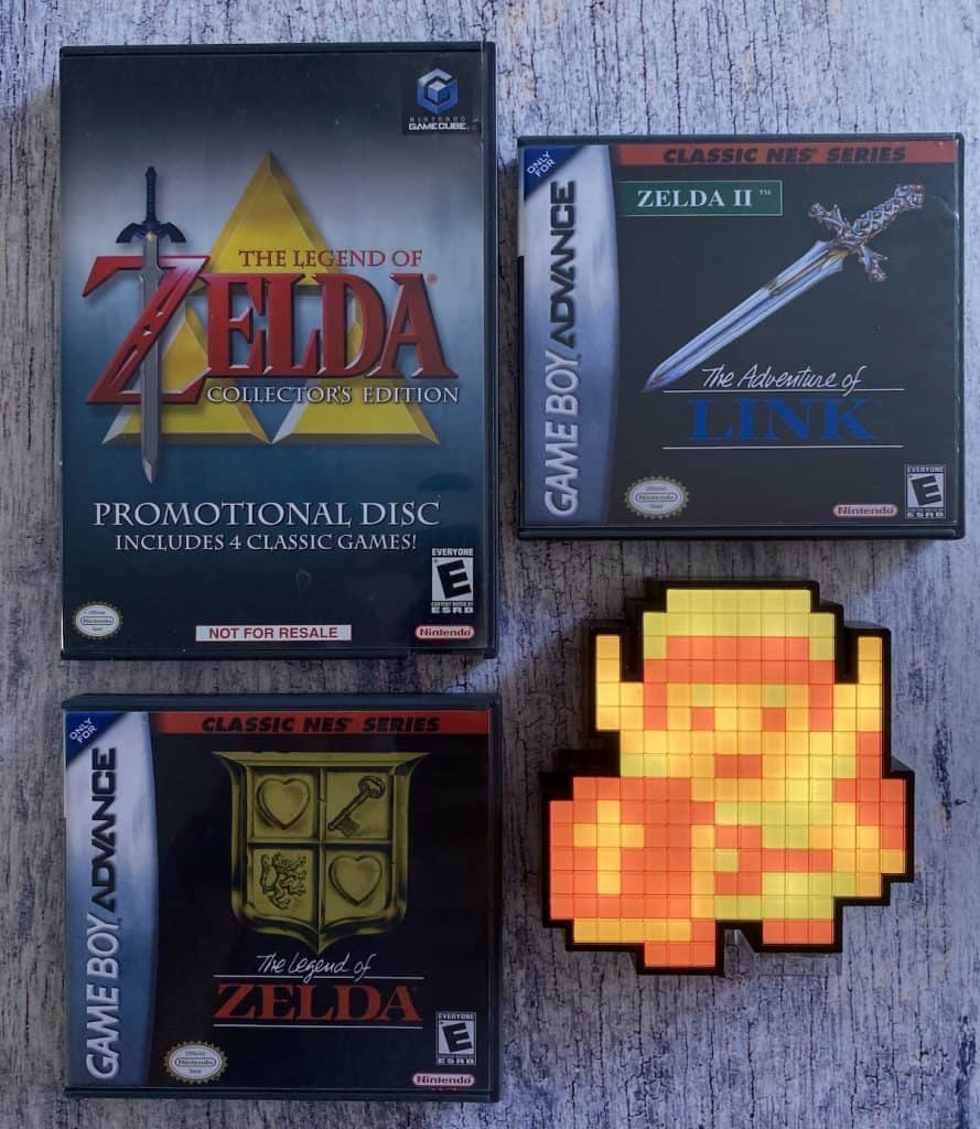 Zelda Collector's Edition disc on GameCube, Legend of Zelda and Adventure of Link for GBA, and Link Pixel Pal