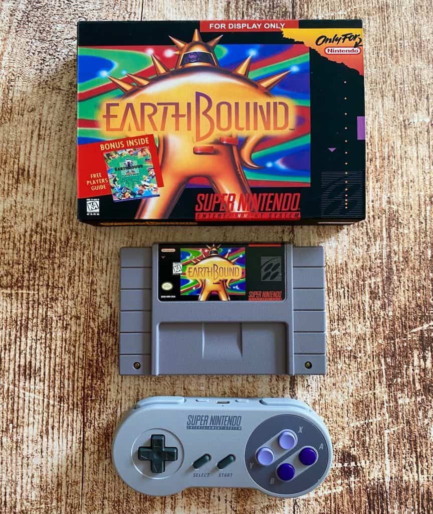 Earthbound SNES cart, custom box, and SNES controller