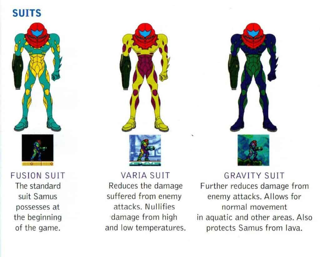 Different suits of Samus in Metroid Fusion