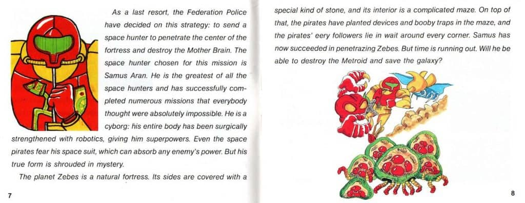 Last pages of story from NES Metroid manual