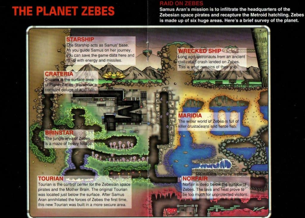 Super Metroid map of Zebes from manual