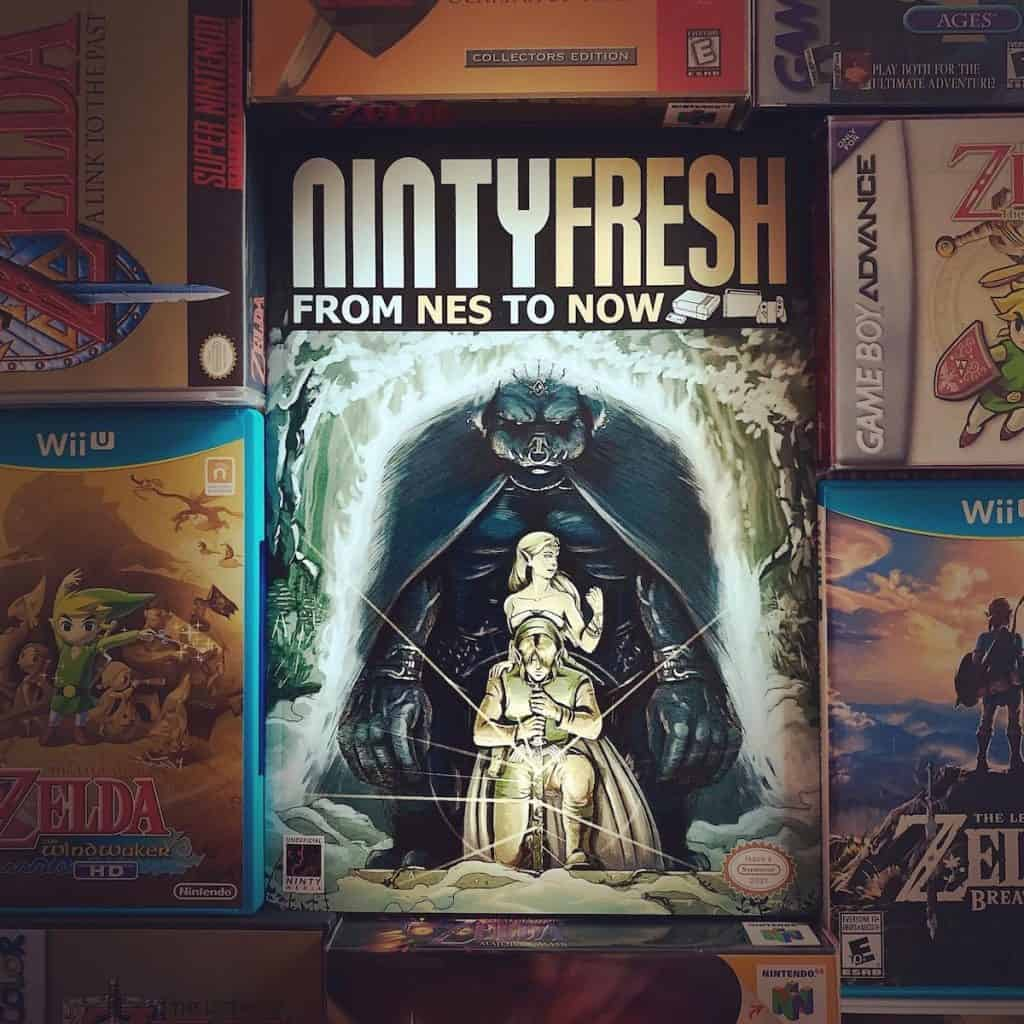 Ninty Fresh Zelda Issue 4 Cover, surrounded by Zelda games