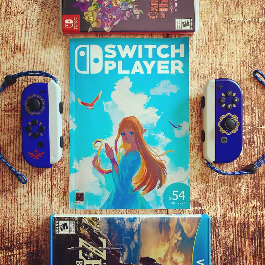 Switch Player Issue 54 cover with Skyward Sword joy cons nearby