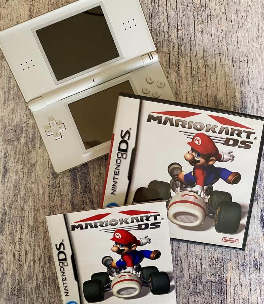 Mario Kart DS box, manual, and Nintendo DS Lite