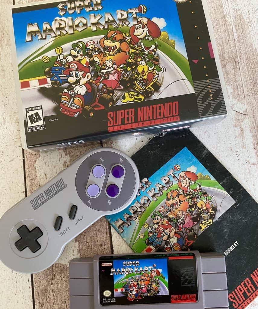 Mario Kart SNES box, cart, manual, and SNES controller