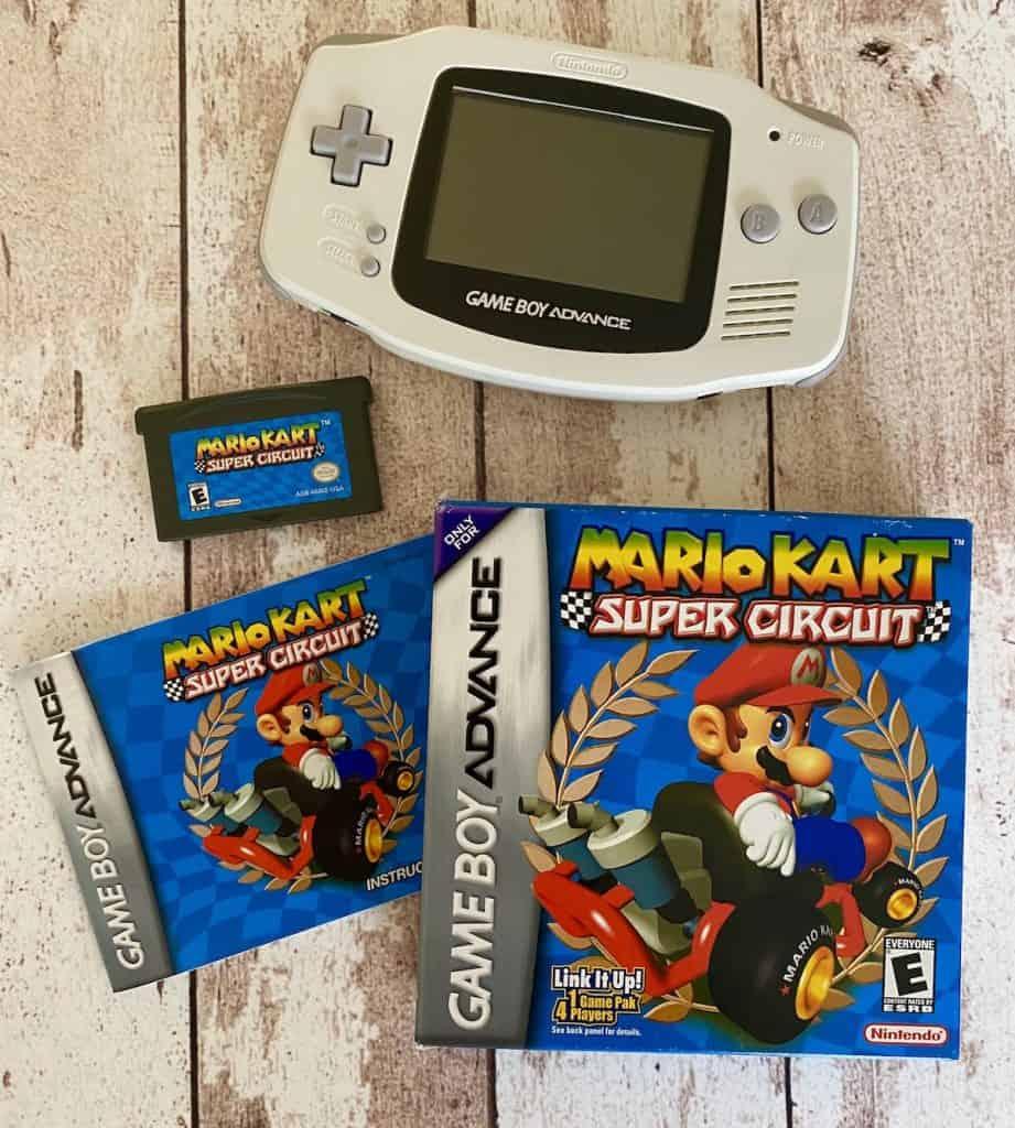 Mario Kart Super Circuit box, manual, cart, and Glacier White Game Boy Advance