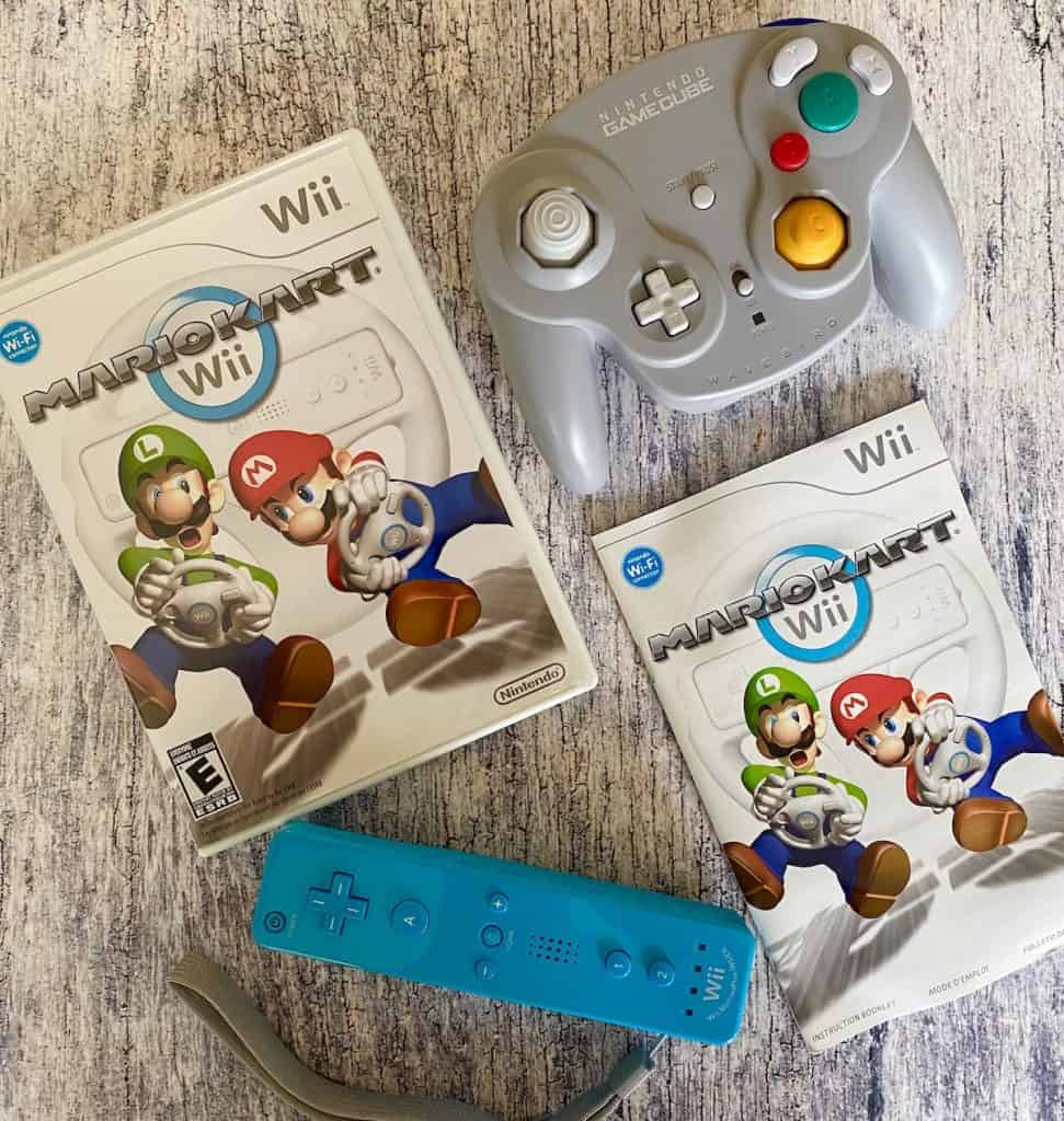 Mario kart Wii case, manual, Wii remote, and WaveBird GC controller